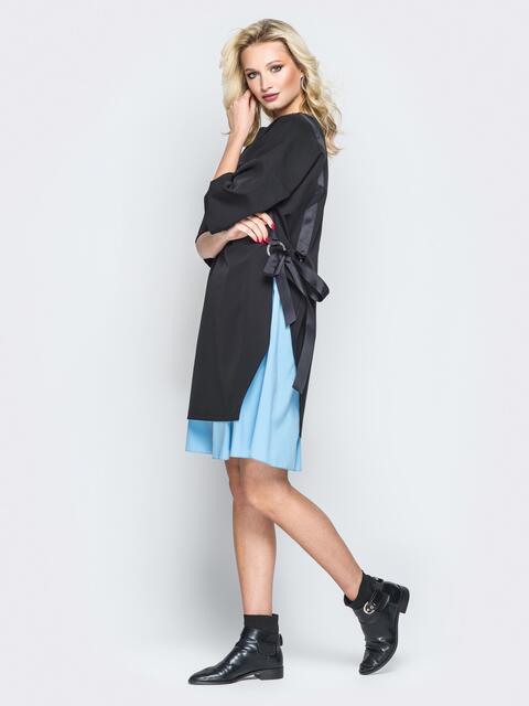 Чёрное платье oversize с голубой юбкой - 20010, фото 1 – интернет-магазин Dressa