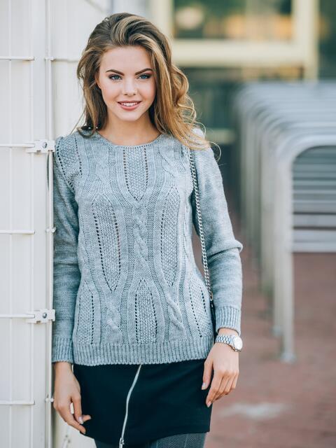 Джемпер с манжетами и низом на резинке серый - 13098, фото 1 – интернет-магазин Dressa