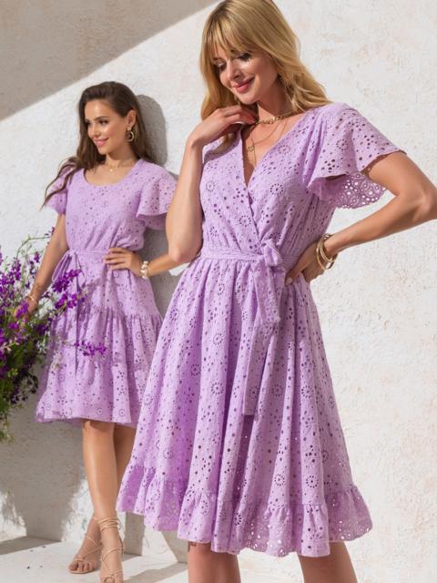 Фиолетовое платье из прошвы с резинкой по талии - 49551, фото 1 – интернет-магазин Dressa