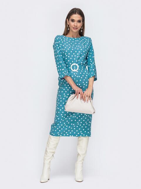 Голубое платье-миди в горох с цельнокроеным рукавом - 44838, фото 1 – интернет-магазин Dressa