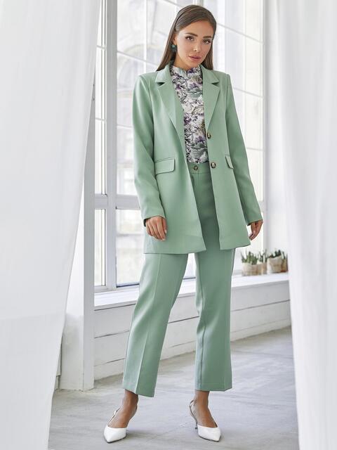 Мятный комплект с пиджаком и брюками на молнии 50467, фото 1
