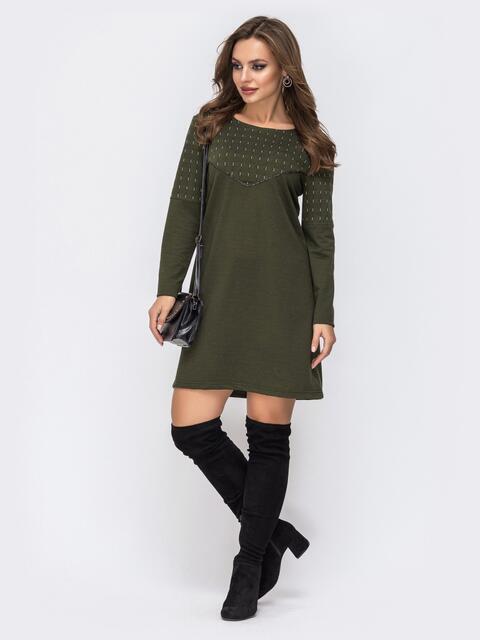 Платье из двунитки с контрастной кокеткой хаки 42969, фото 1