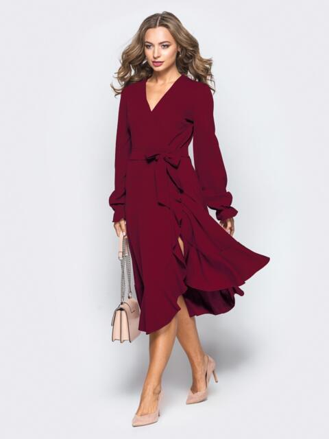Платье с запахом бордового цвета из креп-дайвинга - 16501, фото 1 – интернет-магазин Dressa