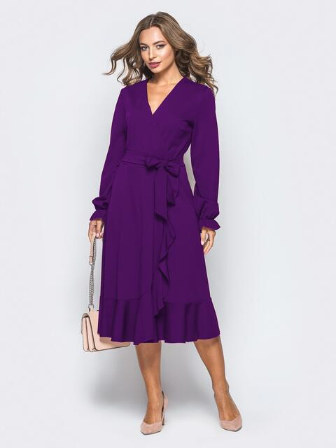 Платье с запахом фиолетового цвета из креп-дайвинга - 16500, фото 1 – интернет-магазин Dressa