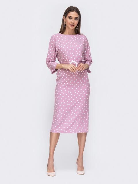 Розовое платье-миди в горох с цельнокроеным рукавом - 44839, фото 1 – интернет-магазин Dressa