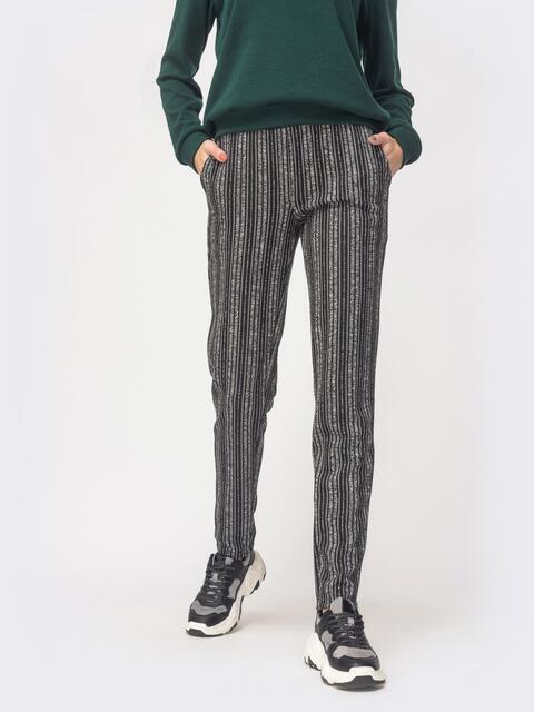 Серые брюки из полированной ангоры в полоску - 42971, фото 1 – интернет-магазин Dressa