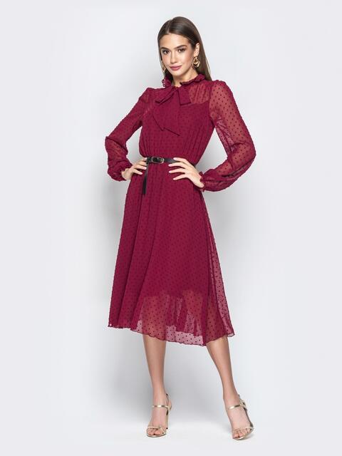 Шифоновое платье с подкладкой и воротником аскот бордовое - 21009, фото 1 – интернет-магазин Dressa