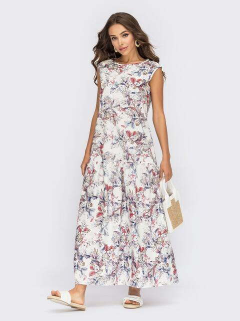 Белое хлопковое платье в цветочный принт 53892, фото 2