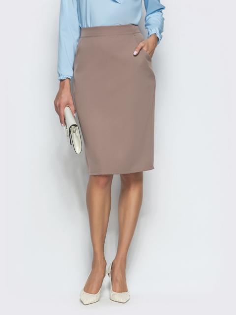 Бежевая юбка-карандаш до колен с карманами - 39771, фото 1 – интернет-магазин Dressa
