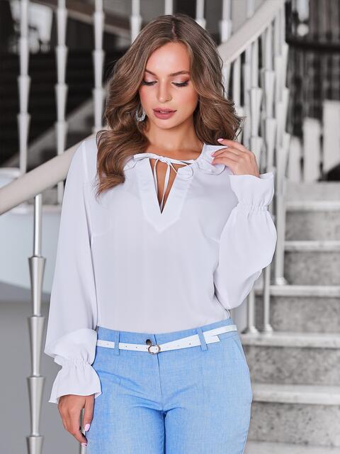 Блузка белого цвета с манжетами на резинке - 40092, фото 1 – интернет-магазин Dressa