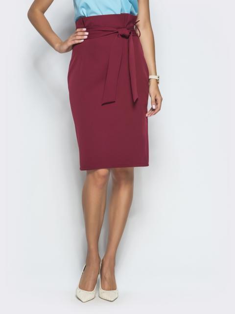 Бордовая юбка-карандаш с оборкой по талии - 39773, фото 1 – интернет-магазин Dressa
