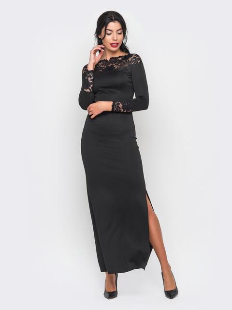 Черное вечернее платье в пол с разрезом сбоку - 17226, фото 1 – интернет-магазин Dressa