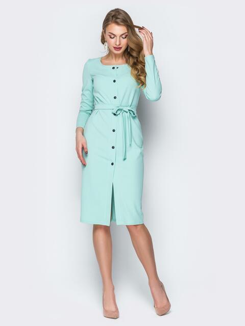 Голубое платье-футляр на пуговицах с поясом - 20029, фото 1 – интернет-магазин Dressa