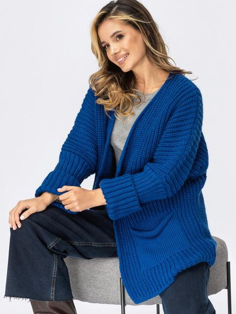 Кардиган вязаный без застёжек синего цвета с карманами 54896, фото 1