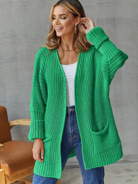 Кардиган вязаный без застёжек зелёного цвета с карманами 54895, фото 1
