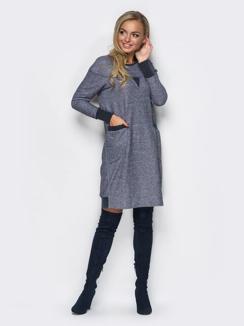 Платье в стиле casual с накладными карманами серое - 11503, фото 1 – интернет-магазин Dressa