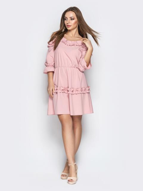 a324c939cb2 Пудровое платье на тонких бретелях с резинкой по талии 21207 ...