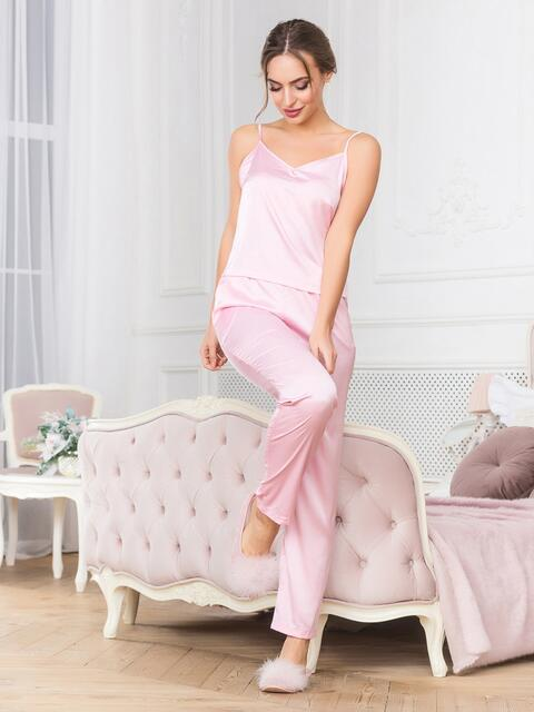 Розовая пижама с топом на бретелях и брюками - 18919, фото 1 – интернет-магазин Dressa