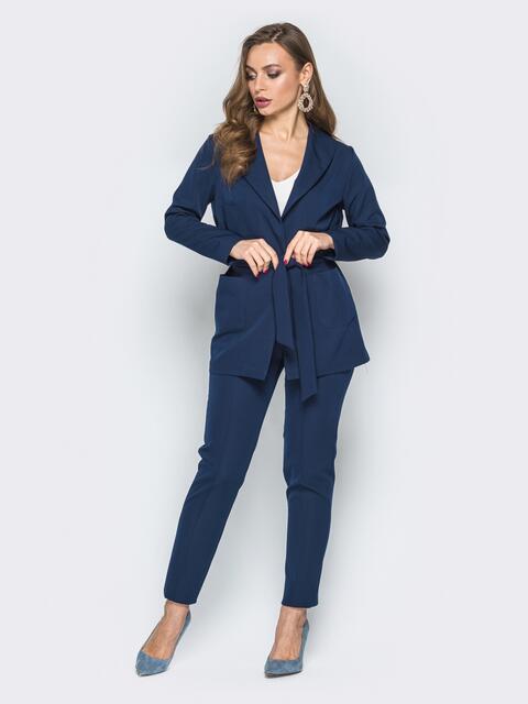 Синий комплект из жакета и брюк с простроченными стрелками - 19309, фото 1 – интернет-магазин Dressa