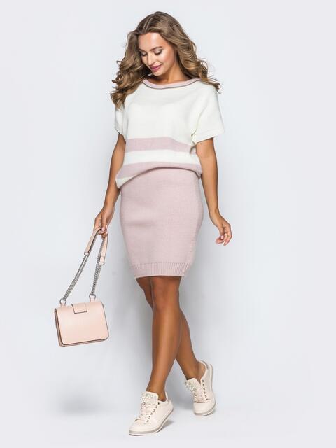 Вязаный комплект бело-розового цвета с юбкой - 17114, фото 1 – интернет-магазин Dressa