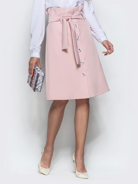 Юбка-трапеция пудрового цвета с рюшами по талии - 39768, фото 1 – интернет-магазин Dressa