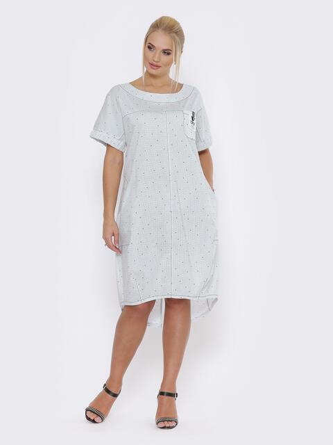 Белое платье батал с удлинённой спинкой и карманами - 49372, фото 1 – интернет-магазин Dressa