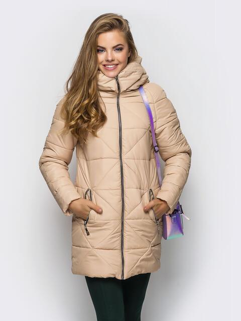 Бежевая зимняя куртка с застёжкой на молнии 15246, фото 1