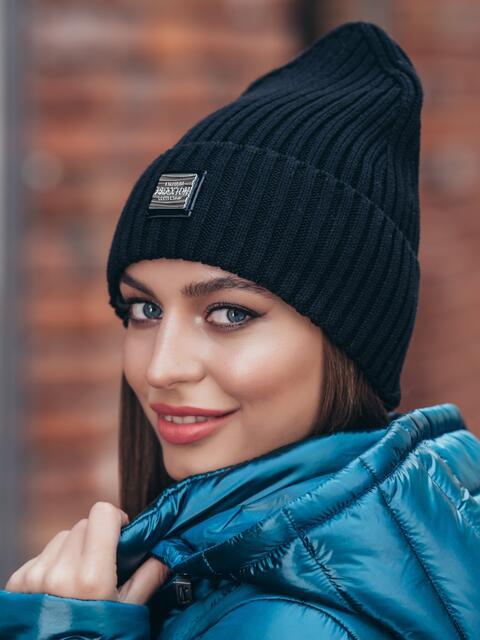 Демисезонная шапка-колпак с отворотом чёрная - 40328, фото 1 – интернет-магазин Dressa
