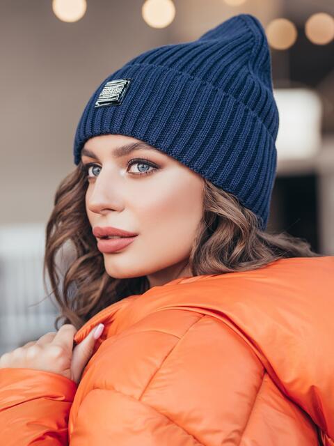 Демисезонная шапка-колпак с отворотом тёмно-синяя - 40324, фото 1 – интернет-магазин Dressa