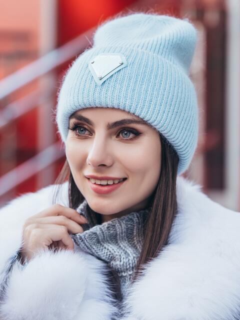 Двойная шапка-колпак голубого цвета 40310, фото 1