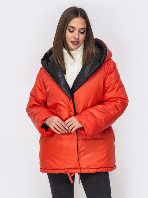 Двухсторонняя куртка с объемным капюшоном оранжевая - 42504, фото 1 – интернет-магазин Dressa