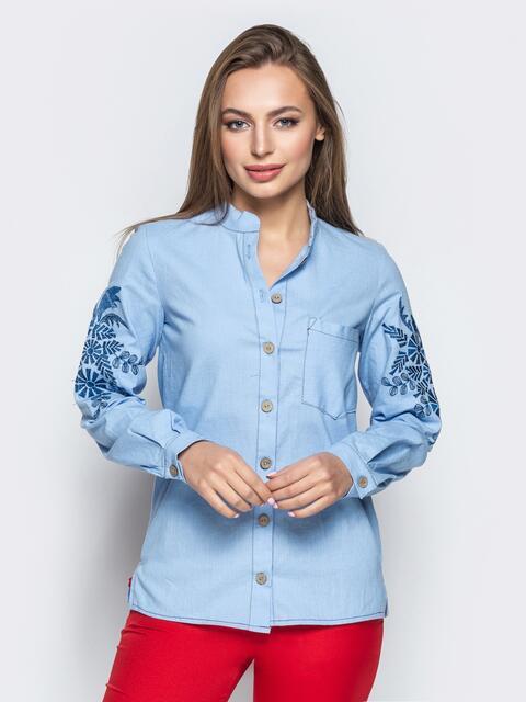 Голубая рубашка с авторской вышивкой на рукавах 21934, фото 1