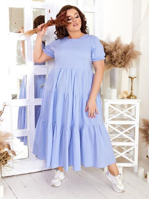 Платье большого размера с многоярусной юбкой голубое 47582, фото 1