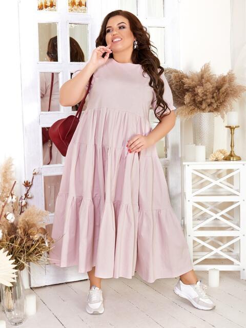 Платье большого размера с многоярусной юбкой пудровое 47580, фото 1