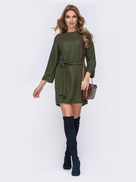 Платье из вязаного трикотажа с рукавом-реглан хаки - 42524, фото 1 – интернет-магазин Dressa