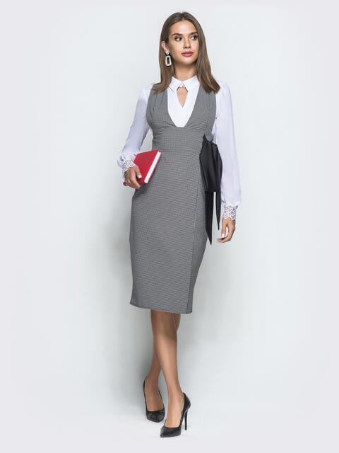 Серый сарафан в клетку с атласным бантом - 39947, фото 1 – интернет-магазин Dressa