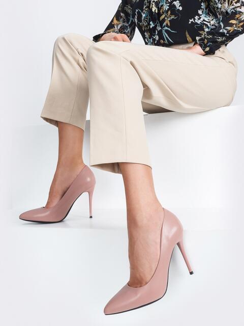Туфли из искусственной кожи на тонком каблуке пудровые - 45511, фото 1 – интернет-магазин Dressa