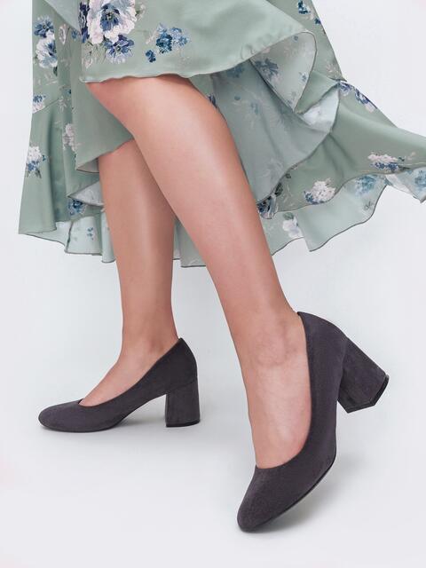 Туфли из искусственной замши на устойчивом каблуке графитовые - 45512, фото 1 – интернет-магазин Dressa