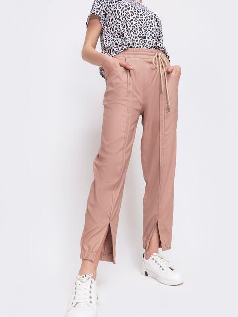 Укороченные брюки с резинкой по талии розовые 47748, фото 1