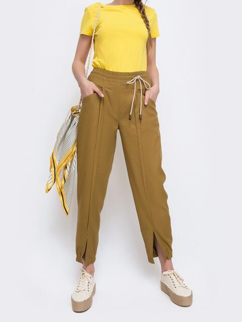 Укороченные брюки с резинкой по талии желтые - 47749, фото 1 – интернет-магазин Dressa