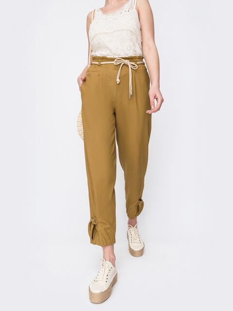 Укороченные брюки с завышенной талией желтые - 47746, фото 1 – интернет-магазин Dressa