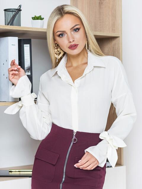 Белая шифоновая блузка с рукавами на завязках - 13204, фото 1 – интернет-магазин Dressa