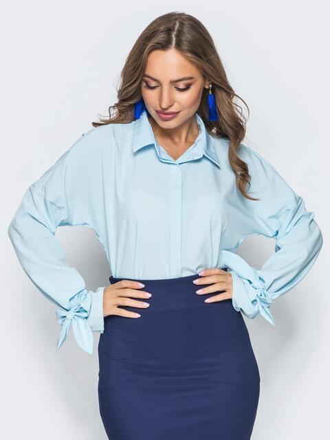 Голубая шифоновая блузка с рукавами на завязках - 13205, фото 2 – интернет-магазин Dressa