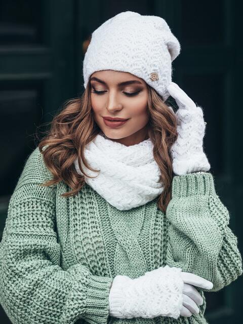 Комплект ажурной вязки с перчатками белый - 15553, фото 3 – интернет-магазин Dressa