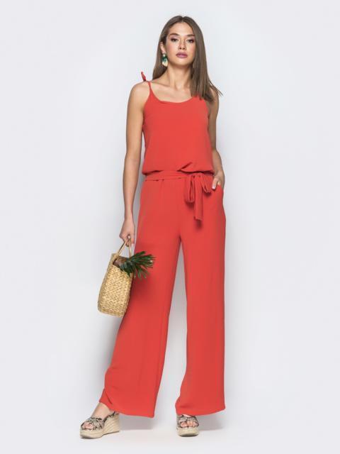 Красный комбинезон на узких бретелях - 38755, фото 1 – интернет-магазин Dressa