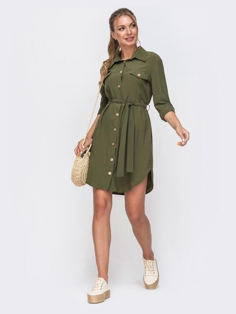 Платье-рубашка цвета хаки с клапанами на полочке 49540, фото 1