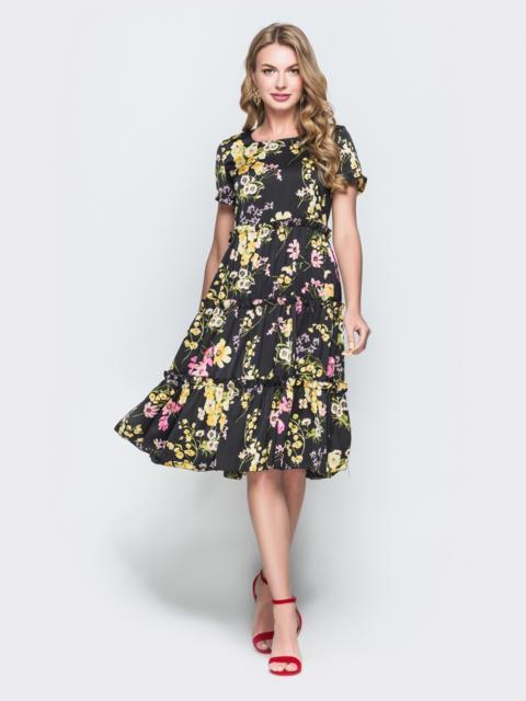 a4abbe389bbaad2 Шелковое платье с принтом и расклешенной юбкой черное - 38578, фото 1 –  интернет-