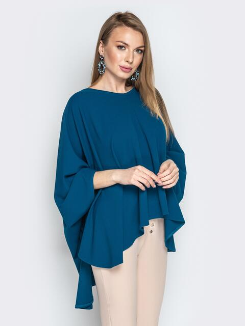 Синяя туника oversize из креп-дайвига - 20952, фото 1 – интернет-магазин Dressa