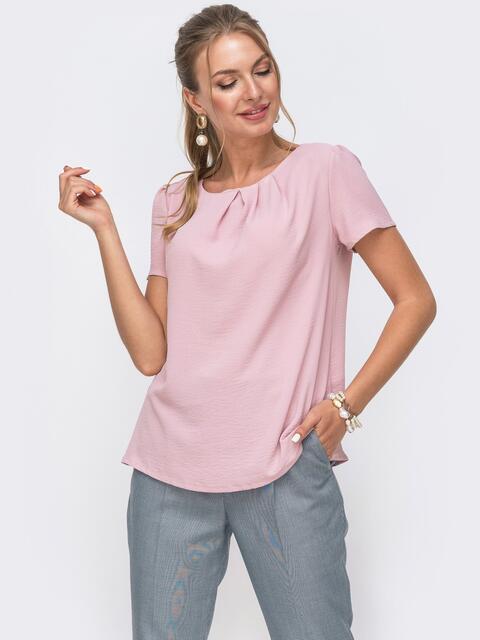 Свободная блузка из крепа пудровая 49423, фото 1