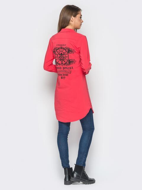 Удлиненная рубашка кораллового цвета с накаткой на спине - 18272, фото 1 – интернет-магазин Dressa